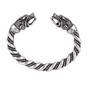 Large Sized Norse Viking Wolf Bangles Bracelet