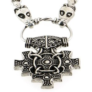 Thor Hammer Pewter Pendant with Dragon Head Necklace1