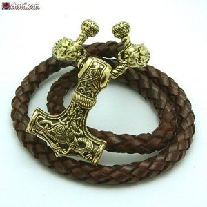 Thors Hammer Leather Necklace With Bronze Pantera Heads