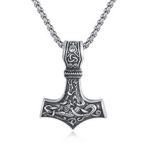 pewter mjöllnir viking norse amulet