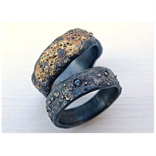 His And Hers Wedding Ring Sets.Matching His And Hers Black Sterling Silver And 14k Gold Viking Wedding Ring Set