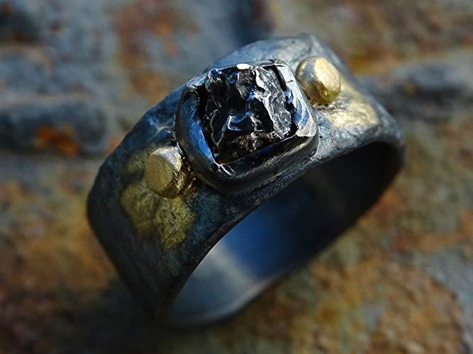Mens Meteorite Viking Norse Wedding Ring Viking Front