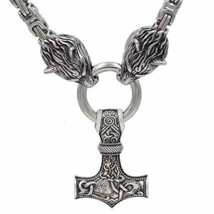Handmade-Thor-Hammer-with-Wolf-Heads-Pendant-Necklace-600x600-1