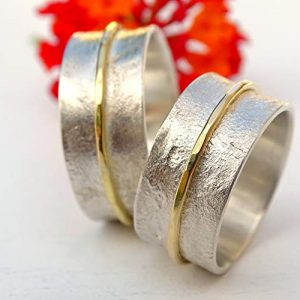 Viking-His-and-Hers-Silver-and-18k-Gold-Wedding-Band-Set1
