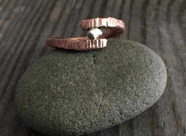 Rugged-Copper-Viking-Wedding-Band-with-Sterling-Silver-Nugget3