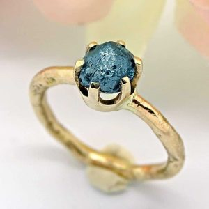 raw blue diamond and 14k yellow gold nesting viking engagement ring1
