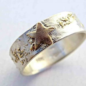 starry night sky viking wedding band with 14k gold sterling silver1