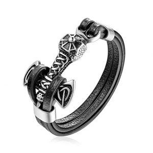 mjolnir thor hammer black leather viking bracelet
