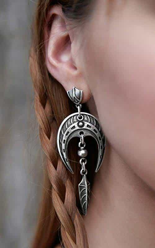 viking horseshoe statement earrings