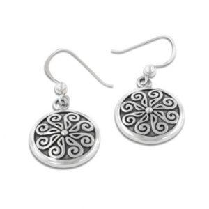 viking shield nordic spiral sterling silver hook earrings