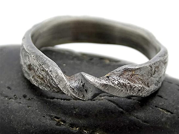 infinity viking wedding band made of molten sterling silver1 1
