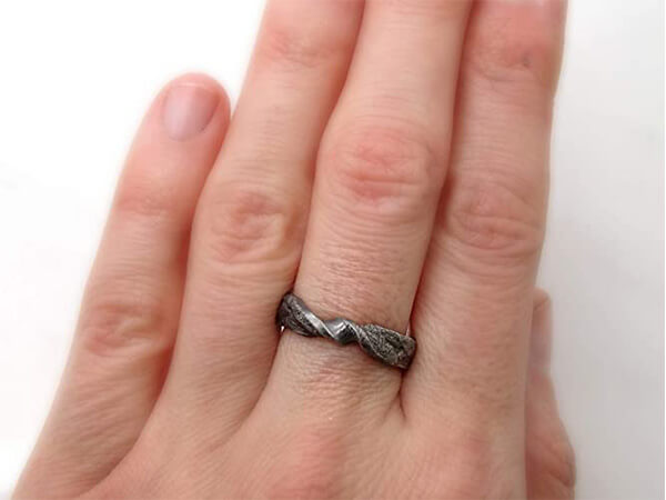 infinity viking wedding band made of molten sterling silver3 1