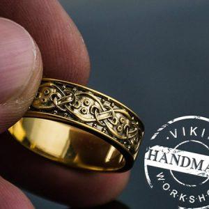 14k gold jormungandr with norse ornament handmade norse jewelry 1 min