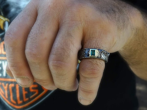 mens viking emerald celtic wedding ring with gold and silver 2 min