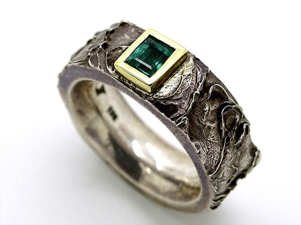 mens viking emerald celtic wedding ring with gold and silver min