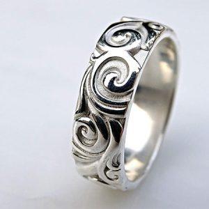 sculptural silver mens viking wedding band min