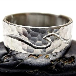 sterling silver engraved waves viking style wedding ring min