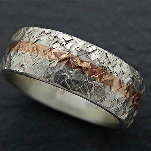 viking mens silver anniversary wedding band with bronze inlay 3 min