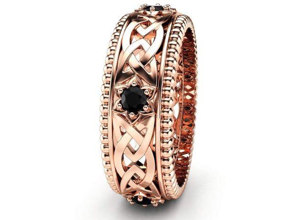 black diamonds wedding ring 14k rose gold ring