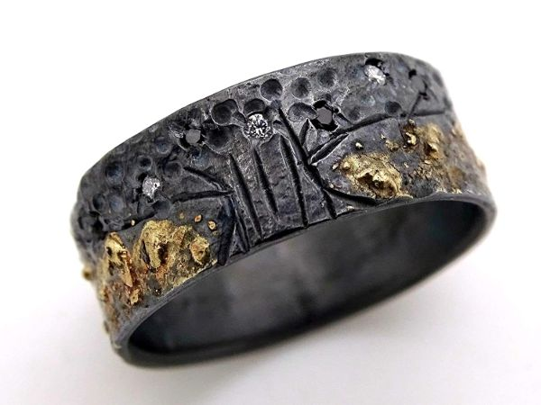 diamond wedding band celtic tree of life ring black silver 14k gold2