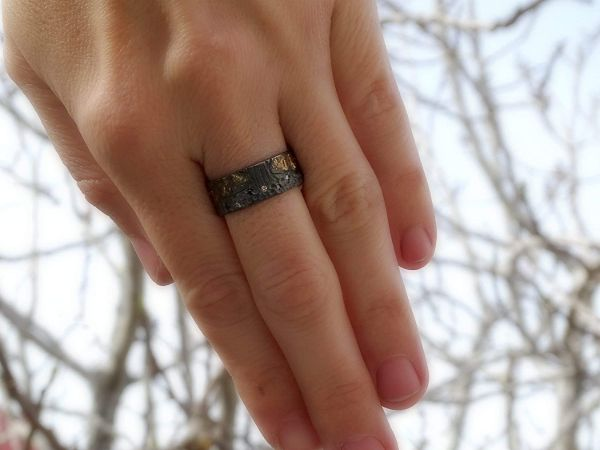 diamond wedding band celtic tree of life ring black silver 14k gold3