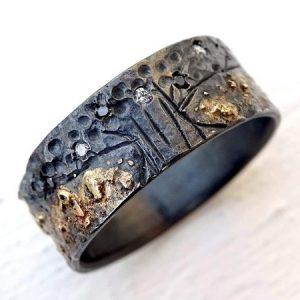 Diamond wedding band celtic tree of life ring black silver 14k gold4