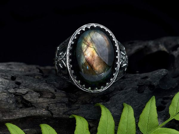 mens ring owl labradorite ring sterling silver ring animal ring viking ring mens jewelry owl ring gifts for men owl jewelry 1