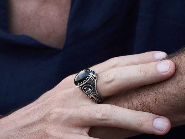 mens ring owl labradorite ring sterling silver ring animal ring viking ring mens jewelry owl ring gifts for men owl jewelry 4
