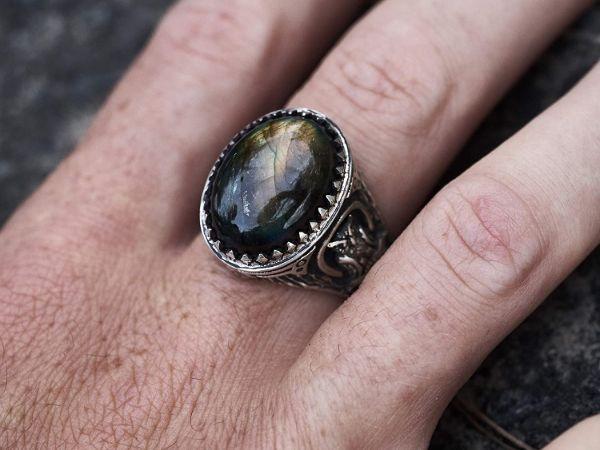 mens ring owl labradorite ring sterling silver ring animal ring viking ring mens jewelry owl ring gifts for men owl jewelry 7