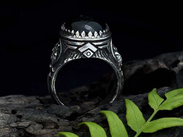 mens ring owl labradorite ring sterling silver ring animal ring viking ring mens jewelry owl ring gifts for men owl jewelry