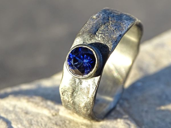 molten silver ring sapphire mens ring