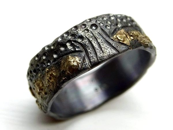 tree of life ring black silver 14k gold3