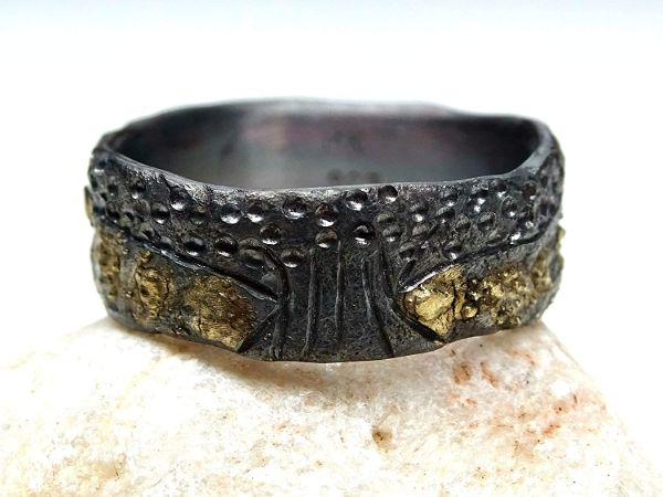 tree of life ring black silver 14k gold