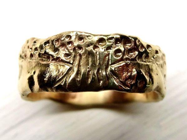 viking wedding band gold engagement ring molten gold