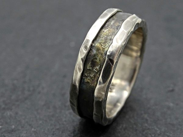 viking wedding band white gold