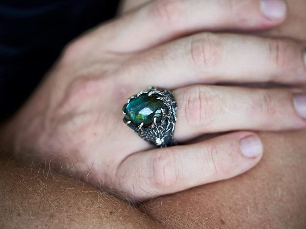wolf ring wolf animal ring labradorite ring viking jewelry mens jewelry gifts for men mens rings labradorite jewelry4