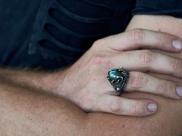 wolf ring wolf animal ring labradorite ring viking jewelry mens jewelry gifts for men mens rings labradorite jewelry5