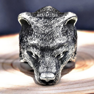 Solid S999 Terling Silver Bear Head Ring